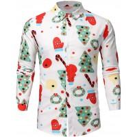 FIRMON Herren-T-Shirt mit Weihnachtsmotiv langärmelig mit Schneeflocken Weihnachtsmann bedruckt Bekleidung