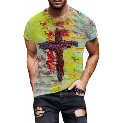 VRTUR Herren T-Shirt Bunt Männer t Shirts 3D Drucken Kurze Ärmel Frühling und Sommer Tshirt Tops Rundhals Ausschnitt Alternative Bekleidung Große Größe S-5XL Bekleidung