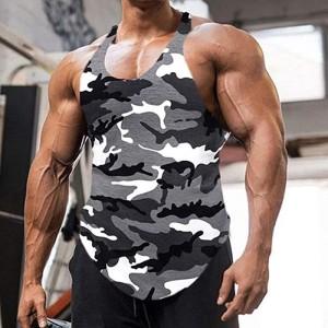 Hong Yi Fei-Shop Herren Gym Tank Top Fitnessstudio Tank Top für Männer Bodybuilding Tops Sommer ärmellose Tanks Fitness Weste Hemden Plus Größe Muskelshirt Color J Size XXXXX-Large Bekleidung