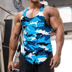 Hong Yi Fei-Shop Herren Gym Tank Top Fitnessstudio Tank Top für Männer Bodybuilding Tops Sommer ärmellose Tanks Fitness Weste Hemden Plus Größe Muskelshirt Color K Size XXXX-Large Bekleidung