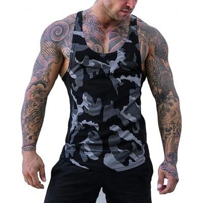 Männer Gym Weste Camouflage Low Cut Bodybuilding Workout Tank Top Technischer Stringer Lifting Fitness Übung Laufen Outfit Tops M-2XL Bekleidung