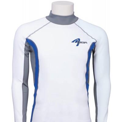 Ascan Shirt UV-Schutz Weiß Blau Langarm Rashuguard SURF Kite Wake Bekleidung