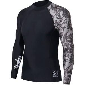 HUGE SPORTS Herren Splice UV-Sonnenschutz UPF 50+ Skins Rash Guard Langarm Sea Forest 2XL Bekleidung