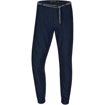Indicode Herren Blnda Stoffhose aus 55% Leinen & 45% Baumwolle mit 4 Taschen   Lange Regular Fit Hose Herrenhose Sommerhose Leinenhose Baumwollhose mit Kordel-Gürtel für Männer Bekleidung