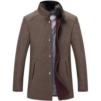 FTCayanz Herren Mantel Slim Fit Wolljacke Übergröße Business Windbreaker Lange Trenchcoat Jacken Dick Khaki M Bekleidung