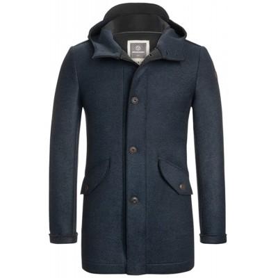 MILESTONE Terlago Herren Wolljacke Jacke Marine Blau mit Kapuze Made in Italy Bekleidung